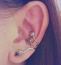 Leaves Ear Cuff Gothic Earrings Sweep Wrap Vintage Flower Leaf Silver Tone ECF10
