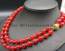 2 Row 10mm Red Ruby Gemstone Faceted Round Beads Neckalce 17-18'' Aaa+