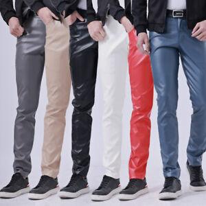Men Faux Leather Pants Stretch Pu Leggings Wet Look Trouser Shiny Slim Soft Cosy