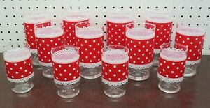 Vintage Anchor Hocking Fire King Red & White Polka Dot Lace 12 Glasses