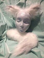Winter Fox Wolf Ears And Tail Set White/Grey Tip Luxury Fur Fancy Dress One Size