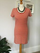 Fransa Long T-Shirt - Size M 10 - Red and Cream stripe -Short Sleeve