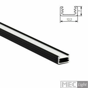 1m ALU-Profil / Leiste SLIM-8 (12x7mm) in schwarz eloxiert + opaler Abdeckung