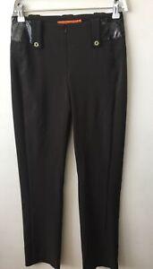 Lisa Ho Brown Leather Trim Pants Size 6
