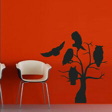 Wall Decal Sticker Vinyl Halloween Witch Holiday Owl Tree Branch Room M474