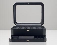 WOLF 4586029 Windsor 10 Piece Watch Box With Drawer Black NEW