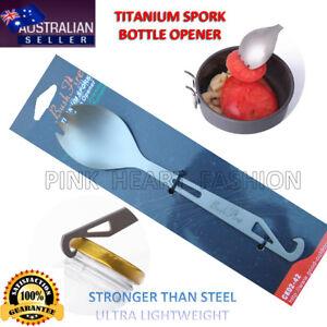 Titanium Spork + Bottle Opener Ultra Light Spoon Fork Backpacking Camping Hiking