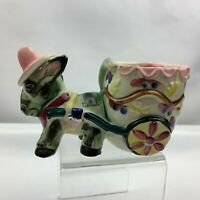 Vintage Donkey Pulling Cart Planter - Pink Hat Yellow Flowers -  Japan