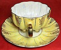 Royal Sealy China Lusterware Tea Cup and Saucer Yellow Iridescent Gold Japan