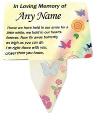 Personalised Baby Child Memorial Plaque & Stake - Spike. Butterfly, Garden,