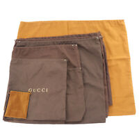 GUCCI Logos Dust Bag 10-Sheet Set Brown 100% Cotton Italy Authentic #NN402 O