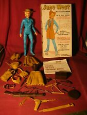 Vintage JANE WEST Louis Marx Movable Cowgirl w/Accessories and Box