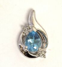 10k white gold .01ct VS H diamond blue topaz pendant charm 1.2g ladies estate