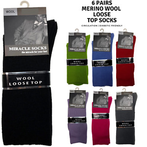 6x Pairs MERINO WOOL Rich LOOSE TOP SOCKS Dress Medical Circulation BULK