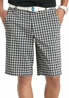 Izod - Mens 30 (S) - NWT $60 - UPF15 Black Gingham Check Plaid Golf Shorts