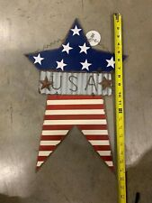 WOODEN AMERICAN FLAG SIGN 20 X 13 USA 3 PIECE WOOD METAL HAND MADE WALL HANGING