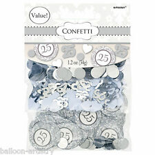 Classic Scroll Silver 25th Wedding Anniversary Confetti Sprinkles Triple Pack