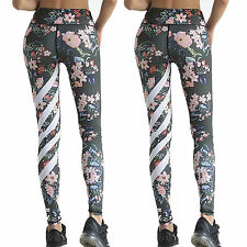 Womens Floral Yoga Pants Fitness Leggings Gym Exercise Sports Stretch Trousers