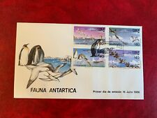 CHILE ANTARCTIC 1986 FDC BLOCK BIRDS FAUNA PENGUINS