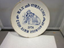 """1974 VINTAGE MAN AND COMPANION PLATE Theo Hamm Brewing Co. 8"""" GOLD TRIM"""