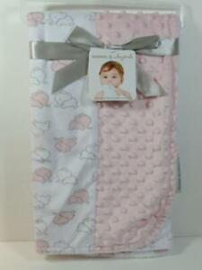 New Blankets & Beyond Girl's Plush Minky Dot & Fur Patchwork ELEPHANT Blanket