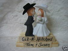 COWGIRL COWBOY GIT HITCHED WESTERN WEDDING CAKE TOPPER