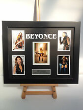 UNIQUE PROFESSIONALLY FRAMED, SIGNED BEYONCE PHOTO COLLAGE WITH PLAQUE.
