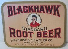 BLACKHAWK STANDARD ROOT BEER VINTAGE SODA BOTTLE LABEL UNUSED 8 OUNCE SIZE