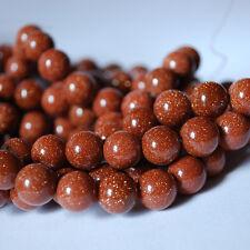 "16 ""piedras preciosas Goldstone / arenisca redonda granos De 4mm"