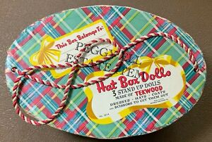 "1950'S WHITMAN PUBLISHING ""HAT BOX DOLLS"" 3 PAPER DOLLS MADE OF TEKWOOD UNCUT!!"