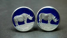 Somalia enamel coin cufflinks rhino Nashorn 19mm. UNC