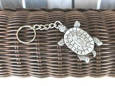 VACATION WALKING THE BEACH 1 SEA TURTLE OCEAN PEWTER KEY CHAIN All New.