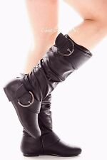 Womens Tall Knee High Mid Calf Faux Leather Low Flat Heels Causal Riding Boots