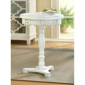 Shabby White Flourish Chic Cutwork Decorative Pedestal Accent Side Table