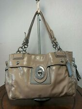 COACH PEYTON Gray Patent Leather Shoulder Tote Carry-all Purse Bag 19756M
