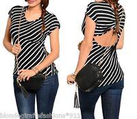 Black w/ White Diagonal Stripe Open Cut-Out Back Cap Sleeve Blouse Top S M L