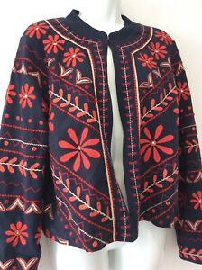 Monsoon navy blue, red embroidered kimono style jacket size uk 14