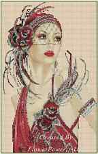 Cross Stitch Chart ART DECO LADY IN RED DRESS No,1-8 (Large Print)