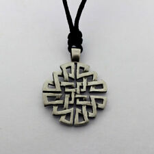 Irish Pewter Celtic Knotwork Pendant with Full Length Adjustable Black Cord