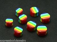 """2PC Gay Pride Rainbow Double Flare Saddle Acrylic Ear Plugs Gauges 9/16"""" - 3/4"""""""