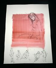 Hawaii Mixed Media Wash Painting Seated Female Nude Snowden Hodges (Sho)#111