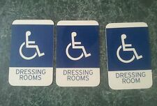 3 ADA Wheelchair Accessible Handicap Blue Brail Signs for Dressing Rooms