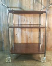 Mid-Century 3 Tier Kitchen Trolley Cart Rolling Bar Stand Vintage