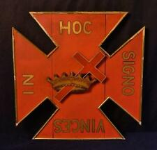American Painted Wood Plaque Cross & Crown Emblem Lodge Related WOW!