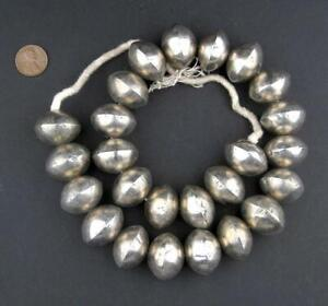 Mali Silver Saucer Bicone Beads 20x26mm African White Metal Large Hole Handmade