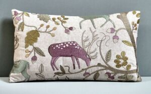 Voyage Designer Cushion Cover 'Fergus'  Embroidered Wool Stag & Acorn Motif