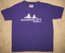 XS Mackinaw City Michigan Bridge short sleeve purple t-shirt 100% cotton