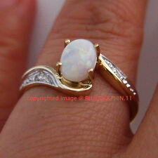 Real Genuine Natural Diamonds Opal Solid 9ct Yellow Gold Engagement Wedding Ring