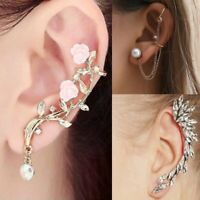 Women's Flower Crystal Tassel Chain Clip Ear Cuff Stud Punk Cartilage Earring