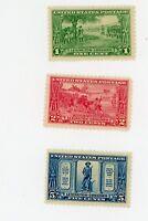 1925- The Battle of Lexington Stamp Issue - Scott Catalog #617, 618, 619 MLH